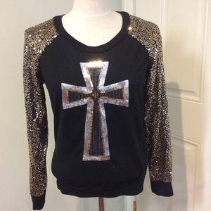Bling cross sweatshirt black gold silver bronze